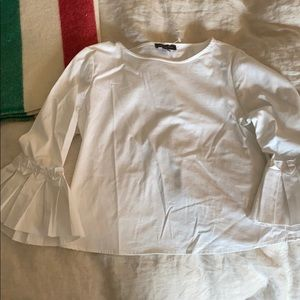 White frill sleeve blouse
